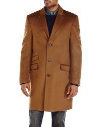 Hart Schaffner Marx Brown Single-breasted Overcoat - Lyst