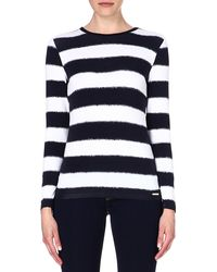 Michael by Michael Kors Stripeprint Jersey Top Navy - Lyst