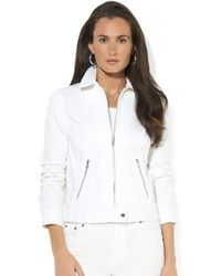 Lauren by Ralph Lauren  Zip Front Denim Moto Jacket - Lyst