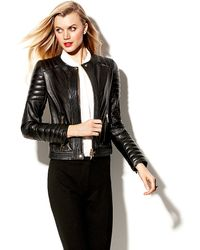 Vince Camuto Trapunto Leather Moto Jacket - Lyst