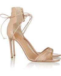 Reed Krakoff Meshtrimmed Patentleather Sandals - Lyst