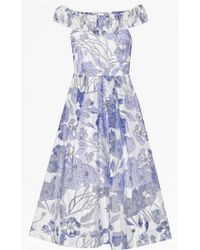 French Connection Water Garden Off-The-Shoulder Dress - Lyst