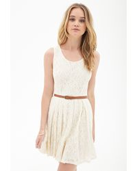 Forever 21 Belted Crochet Lace Dress - Lyst