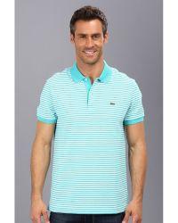 Lacoste Short Sleeve Heritage Fine Stripe Pique Polo Shirt - Lyst