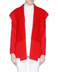 St. John Cable Knit Panel Drape Jacket red - Lyst