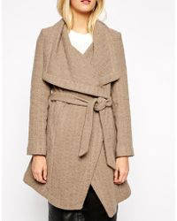 Oasis Textured Long Belted Coat - Lyst
