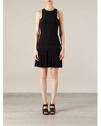 Alexander McQueen Black Pleated Dress - Lyst