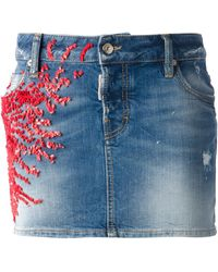 DSquared2 Floral Embellished Skirt - Lyst