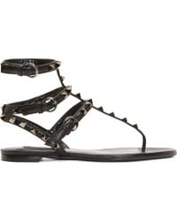 Valentino Grained Leather Rockstud Gladiator Sandals - Lyst