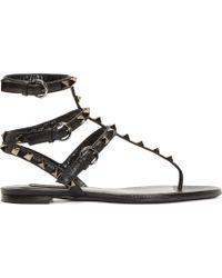 Valentino Grained Leather Rockstud Gladiator Sandals - Lyst