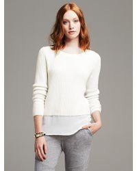 Banana Republic Shaker-stitch Layered Pullover - Lyst