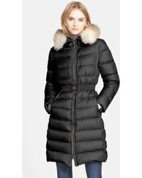 Moncler 'Fabrebox' Belted Puffer Coat With Genuine Fox Fur Ruff black - Lyst