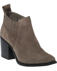 Steve Madden | Pauze Taupe Suede Ankle Bootie | Lyst