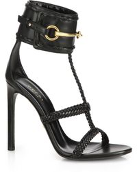 Gucci Ursula Horsebit Braided Sandals - Lyst