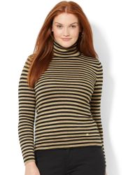 Lauren by Ralph Lauren Plus Size Metallic-striped Turtleneck Sweater - Lyst