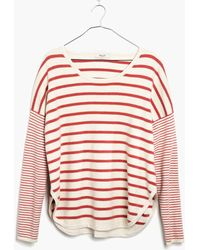 Madewell Striped Curved-Hem Sweater - Lyst