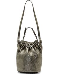 Alexander Wang Gunmetal Grained Leather Diego Bucket Bag - Lyst
