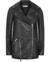 Whistles | Lana Longline Leather Biker Jacket | Lyst
