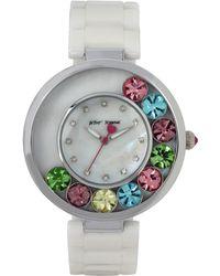 Betsey Johnson - Women's White Ceramic Bracelet Watch 41mm Bj00578-01 - Lyst