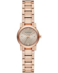 Burberry Petite Rose Gold-tone Watch with Hydraulic Stamp Dial - Lyst