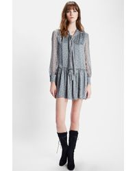 Saint Laurent Floral Print Silk Charmeuse Dress - Lyst