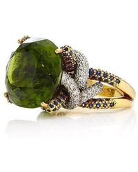 Nicholas Varney - One Of A Kind Peridot, Sapphire, And Diamond Horst Ring - Lyst