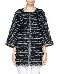 St. John Irregular Stripe Fringed Topper Jacket - Lyst
