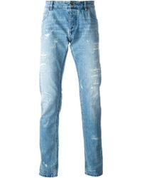 Dolce & Gabbana Ripped Denim Jeans - Lyst