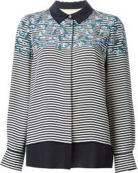 Tory Burch Floral Striped Shirt - Lyst