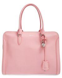 Alexander McQueen 'Padlock' Calfskin Leather Duffel Bag - Lyst