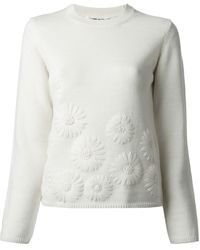 Comme Des Garçons Embroidered Flowers Sweater - Lyst