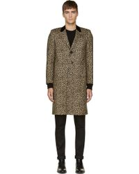 Saint Laurent Leopard Print Wool Long Overcoat - Lyst