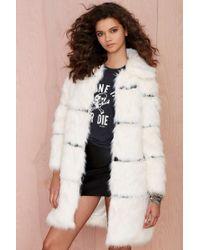 Nasty Gal Nightwalker Moss Is Boss Faux Fur Coat - Lyst