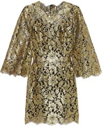 Dolce & Gabbana Swarovski Crystalembellished Metallic Lace Mini Dress - Lyst