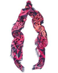 Matthew Williamson Wing Lace Navy Modal Cashmere Large Scarf - Lyst