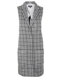 Topshop Sleeveless Checked Jersey Coat - Lyst