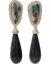 Dana Rebecca - Opal And Black Jade Earrings - Lyst