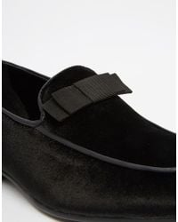 ASOS - Loafers In Black Velvet With Bow Detail - Lyst