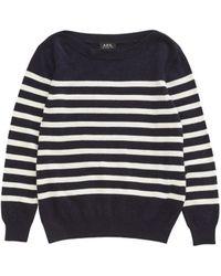 A.P.C. Cashmere Striped Sweater - Lyst