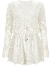 Zimmermann White Silk Essence Veil Playsuit - Lyst