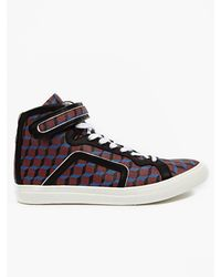 Pierre Hardy Mens Burgundy Perspective Cube Hitop Sneakers - Lyst