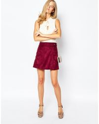 First & I - 70s Suede Skirt - Red - Lyst