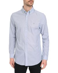 Lacoste Blue Button-Down End-And-End Weave Shirt - Lyst