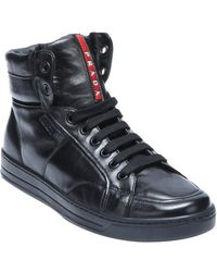 Prada Sport Black Leather and Shearling High-top Sneakers - Lyst