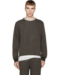 Diet Butcher Slim Skin - Grey Cotton And Leather Sweater - Lyst