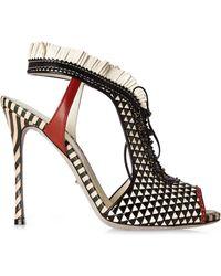 Sergio Rossi Black & White Peep Toe Heels - Lyst