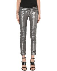 Diesel Moto Coated Skinny Midrise Jeans Silver Treated - Lyst