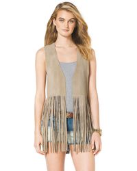 Michael Kors  Leather Fringe Vest - Lyst