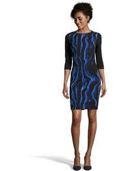 Tahari Mystery Marmose Print 34 Sleeve Angie Mixed Media Dress - Lyst