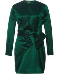 Katie Ermilio Bow-Detail Satin Dress green - Lyst